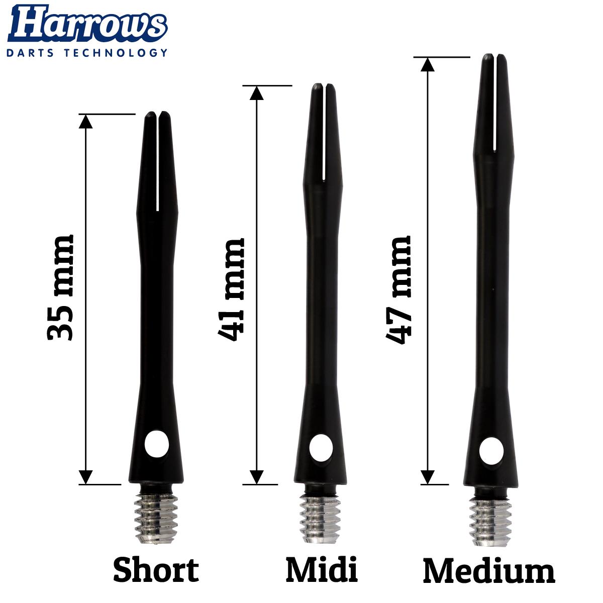 30 Harrows Keramic Dart Shafts Short Midi oder Medium Keramik Schäfte 10 Sets
